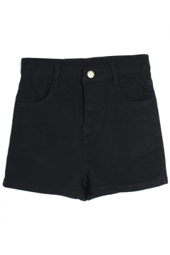 Plain Denim High Waist Shorts with Zipper Fly
