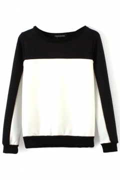 Mono Color Block Round Neck Long Sleeve Sweatshirt