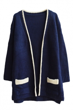 Plain V-Neck Colorblock Trim Open Front Double Pocket Long Sleeve Cardigan