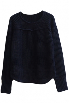 Plain Raglan Sleeve Round Neck Laid Back Sweater