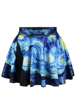 Starry Night Print Elastic Waist Mini Flared Skirt