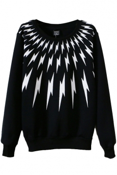 Lightening Print Round Neck Long Sleeve Sweatshirt
