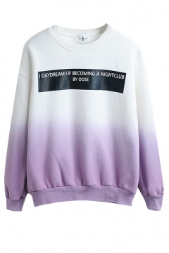 Round Neck Ombre Ling Sleeve Pullover Sweatshirt