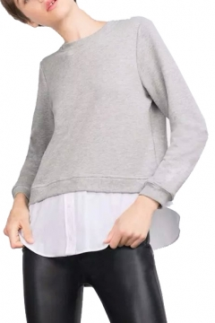 Gray Round Neck Long Sleeve Satin Patchwork Tee
