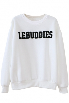 Round Neck Long Sleeve Letter Print Sweatshirt