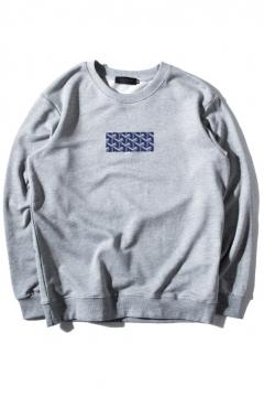 3D Plaid Print Round Neck Long Sleeve Sweatshirt