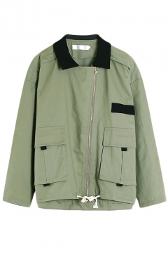 Green Contrast Collar Zippered Long Sleeve Utility Coat
