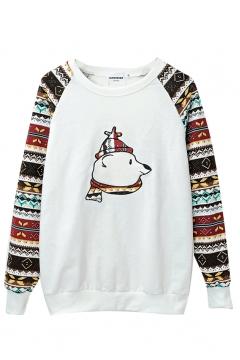 Round Neck Long Sleeve Cartoon Tribal Print Sweatshirt