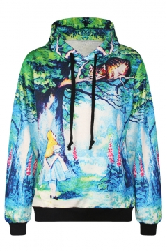 Print Green Long Sleeve Drawstring Sweatdshirt