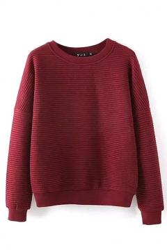 Round Neck Long Sleeve Plain Stripe Sweatshirt