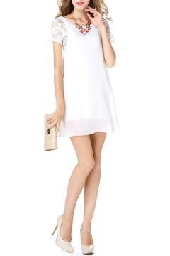 Scoop Neck Short Sleeve Lace Detail Chiffon Dress