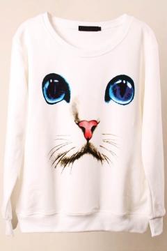 Long Sleeve Print Round Neck Pullover Sweatshirt