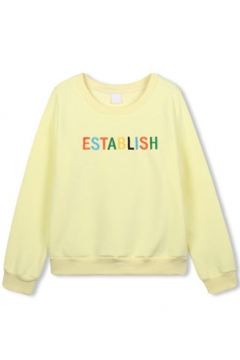 Colored Letter Print Long Sleeve Round Neck Sweatshirt