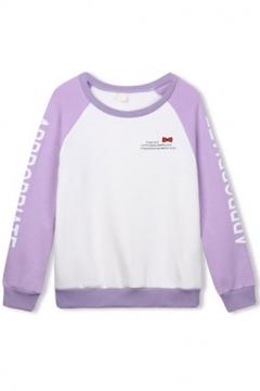 Round Neck Raglan Sleeve Color Block Letter Print Sweatshirt