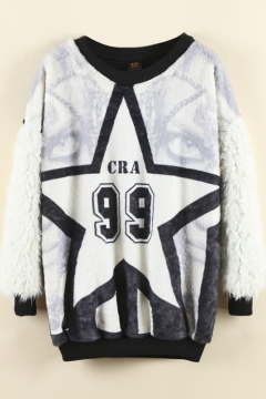 Star & Letter Print Color Block Fur Patchwork Sweatshirt