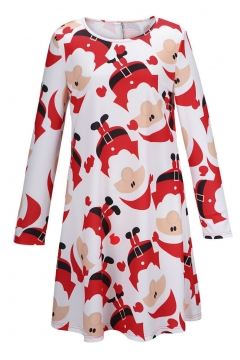 Christmas Santa Print Long Sleeve Round Neck Dress