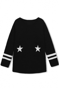 Star Print Stripe Trims Long Sleeve Round Neck Tee
