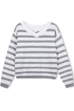 V-Neck Long Sleeve Stripes Color Block Sweater