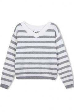V-Neck Long Sleeve Stripes Color Block Sweater