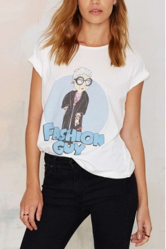Round Neck Short Sleeve Cartoon Character Print White Tee
