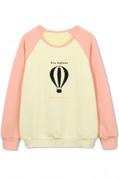 Fire Balloon Print Raglan Sleeve Color Block Sweatshirt