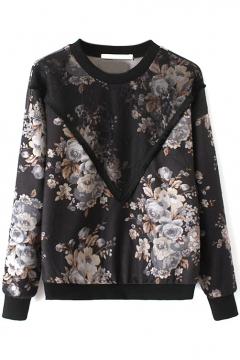 Gauze Patchwork Vintage Floral Print Long Sleeve Sweatshirt