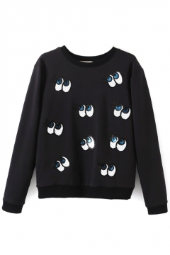 Round Neck Eye Embroidery Sequined Velvet Plus Sweatshirt