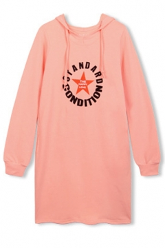 Hooded Letter & Star Print Long Sleeve Tunic Sweatshirt