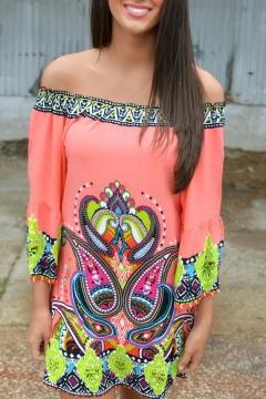 Off The Shoulder 3/4 Length Sleeve Paisley Tribal Print Dress