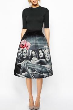 Black High Waist A-Line Beautiful Girls Print Skirt