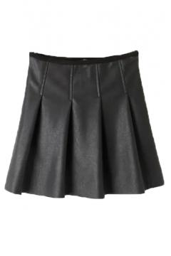 Plain Zip Side Velvet Plus Pleated PU A-Line Skirt