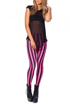 Vertical Stripe Multicolor Skinny Spandex Leggings