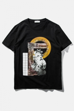 Religion Element Sculpture Print Short Sleeve Tee