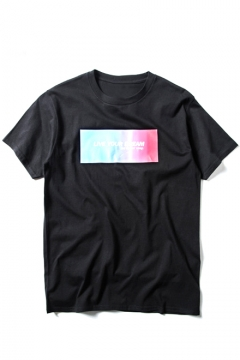 Rainbow Color Letter Print Round Neck Loose Tee