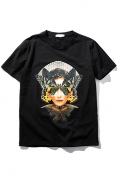 Butterfly Girl Print Short Sleeve Round Neck Tee