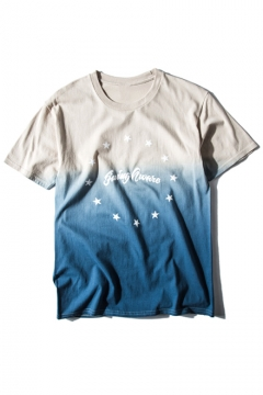 Ombre Star & Letter Print Short Sleeve Loose Tee