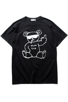 Funny Bear Print Pullover Loose Boy Friend Style Tee
