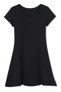 A-Line Scoop Neck Short Sleeves Plain T-shirt Dress