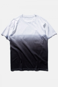 Ombre Round Neck Short Sleeve  Cotton T-Shirt