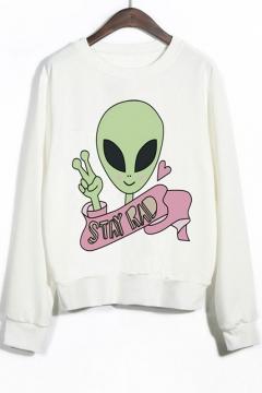 Crew Neck Ribbed Sleeves Alien Print Graphic Sweatshirt