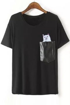 Cute Cat Print Short Sleeve Round Neck Pocket Embellish Tee&Tops