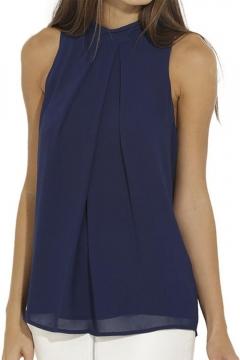 Women Summer Chiffon Sleeveless Blouse Tank Shirt Dark Blue