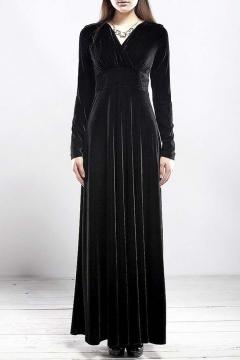 02e196c7296 Women long sleeve V-neck Velvet Stretchy Long Dress