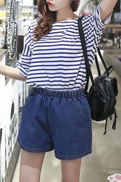 Denim Loose Drawstring Waist Shorts