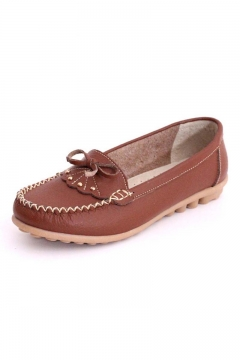 Bows Embellish Casual Loafers Flats Shoes Chic Women Slip On Flat Pumps Shoes