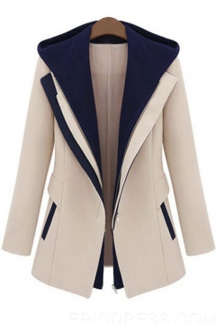 Women's Color Block Hooded Long Sleeve Faux Twinset Design Coat