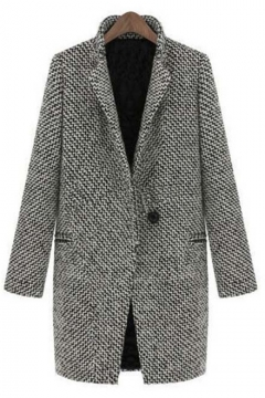 New Arrival Women's Fashion Winter Notched Lapel Tweed Coat