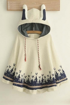 Lovely Rabbit Print Rabbit Ears Hooded Neck Batwing Sleeve Cape