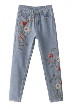 Trendy Embroidery Floral Ripped Cuffs Mid Waist Jeans