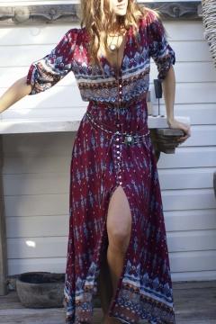 2ba04e55e67 New Style Geometric Print Plunge Neck Single Breasted Split Hem Half Sleeve  Maxi Beach Dress